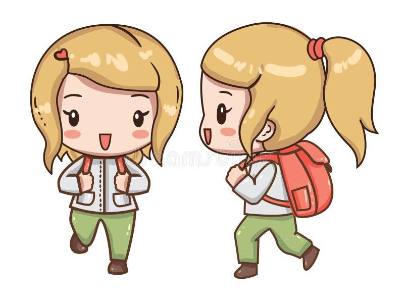 有一个背包的女孩旅客在远足的衣裳 库存例证