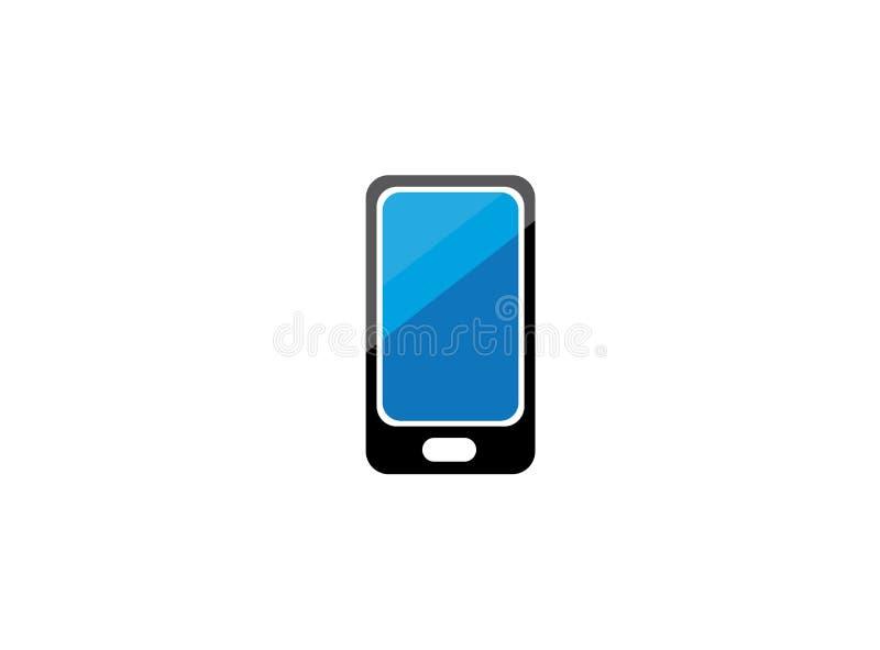 有一个蓝色屏幕的手机商标设计的 库存例证