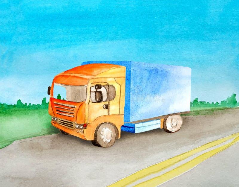 有一个蓝色身体的橙色卡车在夏天和清楚运载在一条柏油路通过草甸和森林的货物天际的 皇族释放例证