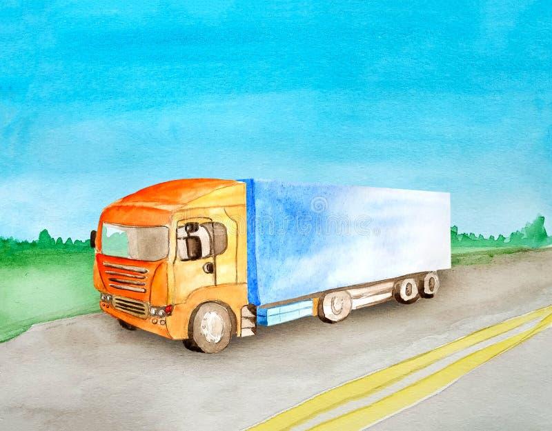 有一个蓝色身体的水彩橙色卡车运载在柏油路的货物以白天夏天风景为背景 向量例证