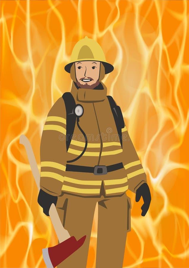 有一个轴的消防员在生动的火背景 他的齿轮佩带的盔甲的消防队员 平的传染媒介例证 垂直 向量例证