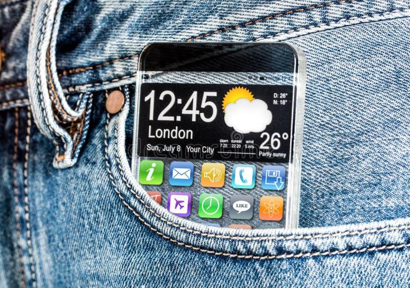 有一个透明屏幕的智能手机在牛仔裤的一个口袋。 免版税库存图片
