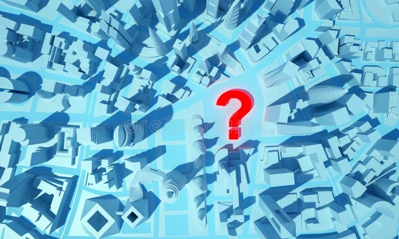 有一个问号的抽象城市在顶视图 库存例证