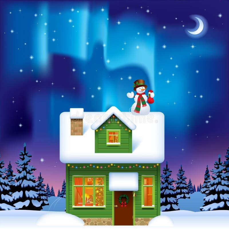 有一个雪人的绿色木房子反对北极光 向量例证