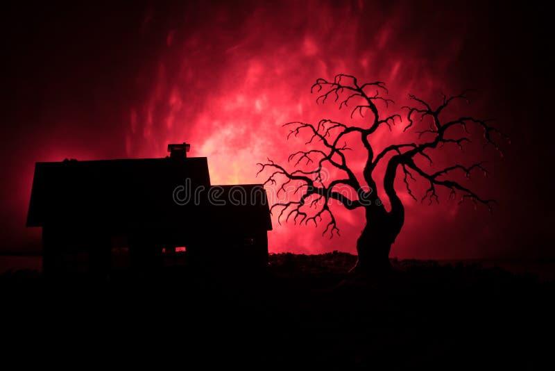 有一个鬼魂的老房子在与鬼的树的晚上或被定调子的有雾的天空的被放弃的被困扰的恐怖议院与光 老神秘的修造 皇族释放例证