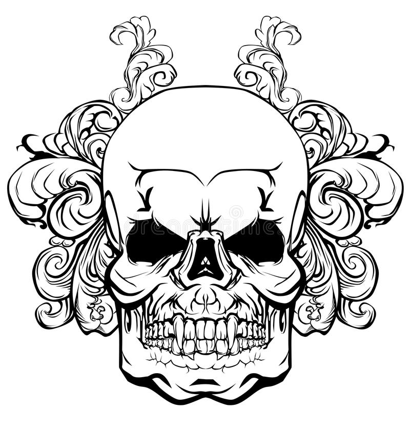 有一件植物生长的装饰品的元素的头骨 库存例证