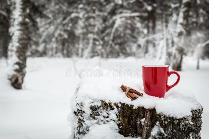 有一份热的饮料的杯在树桩站立 库存图片