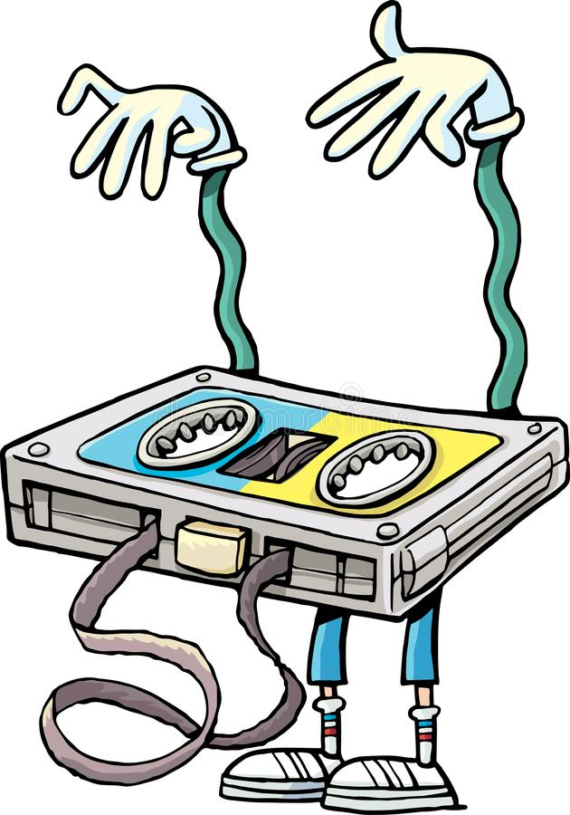 有一卷被缠结的磁带的音乐磁带惊吓听众 库存例证