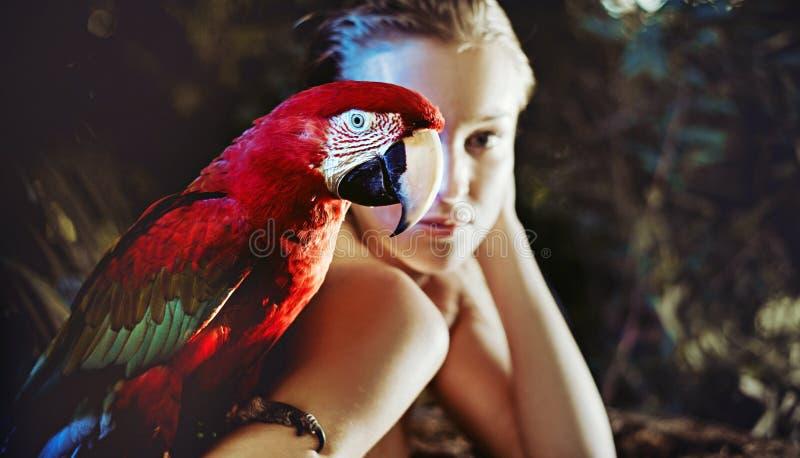 有一只五颜六色的鹦鹉的肉欲的妇女 库存图片