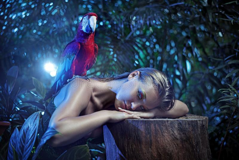 有一只五颜六色的ara鹦鹉的Senual夫人 免版税图库摄影