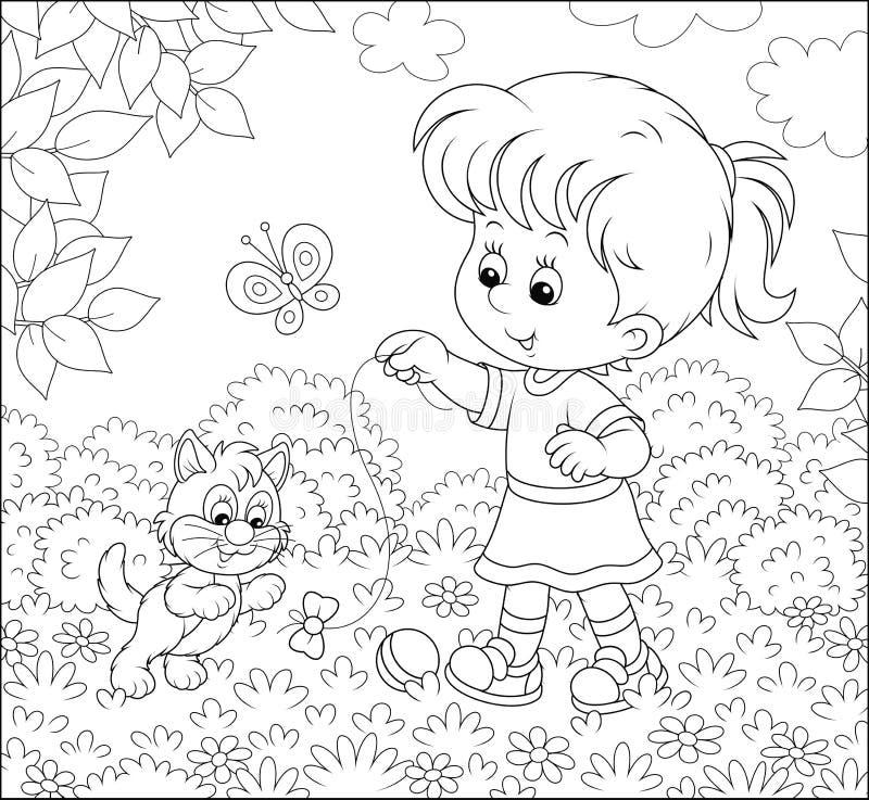 有一只小猫的女孩在草坪 向量例证