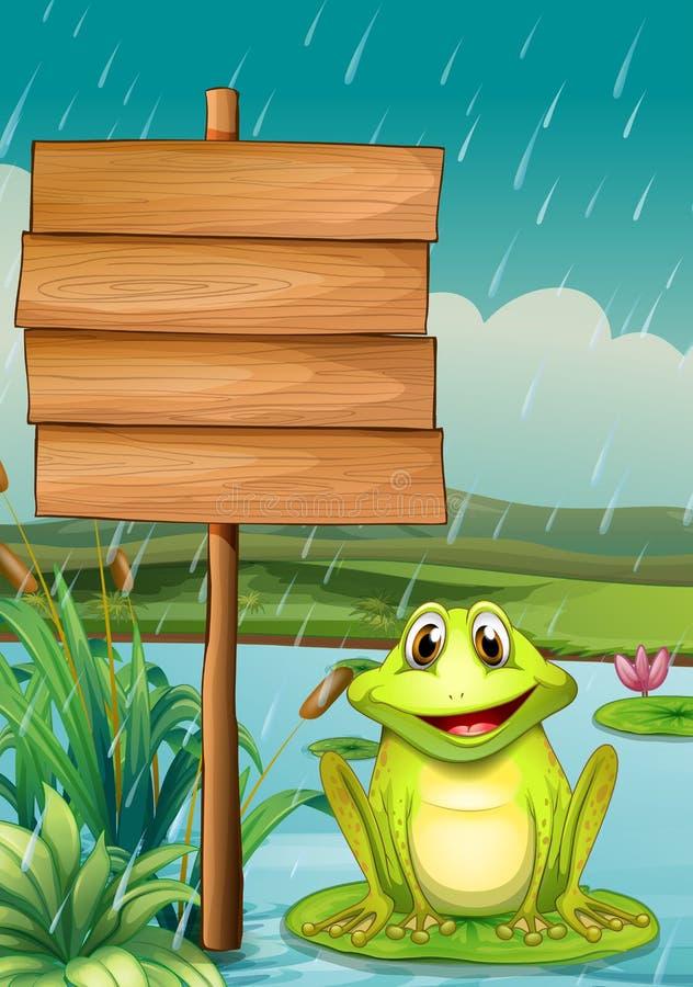 有一只池蛙的一个空的委员会 皇族释放例证