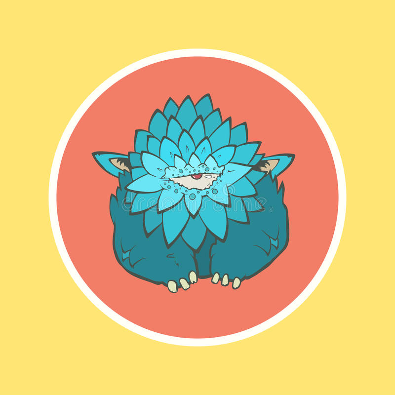 有一只眼睛的动画片蓝色厚实的妖怪在圈子 皇族释放例证
