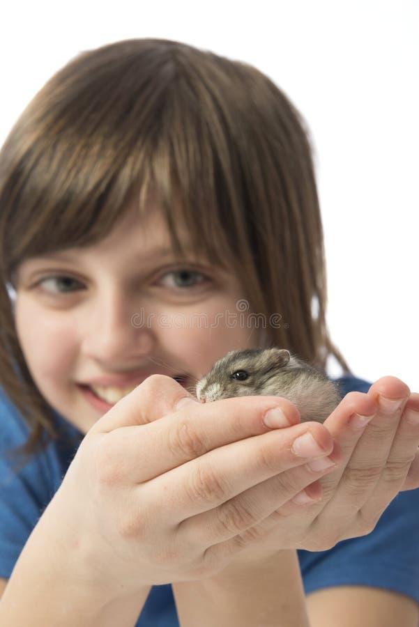 有一只逗人喜爱的仓鼠的愉快的litle女孩 库存照片