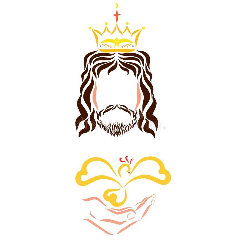 有一只鸟的耶稣基督国王在他的手上 皇族释放例证