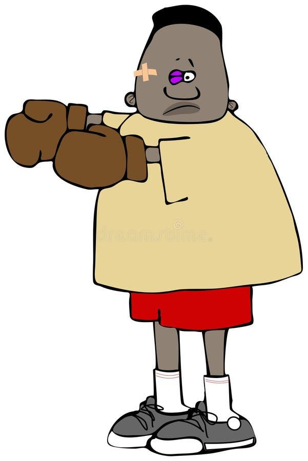 有一只黑眼睛的男孩拳击手 皇族释放例证