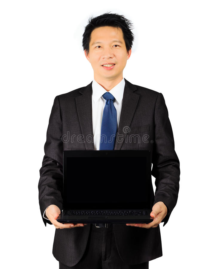 有一台便携式计算机的亚裔商人在白色 免版税库存图片