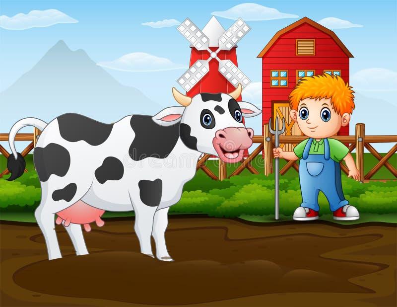 有一头母牛的农夫在他的谷仓前面 向量例证