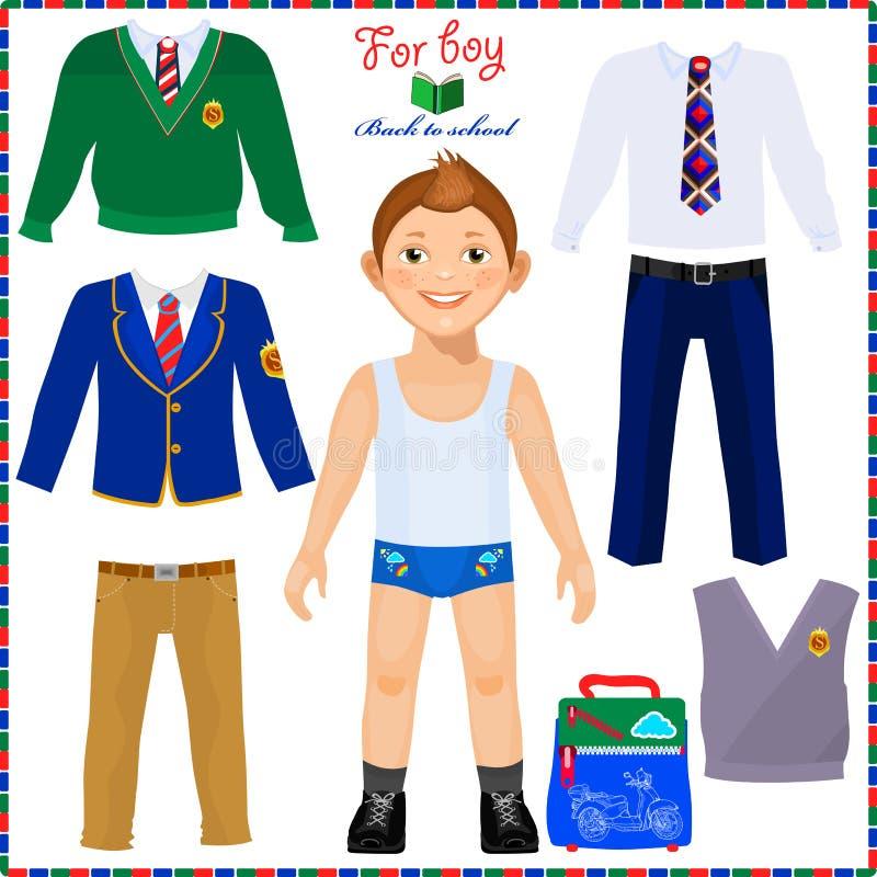 有一套的纸玩偶衣裳 逗人喜爱的男孩学生 向量例证