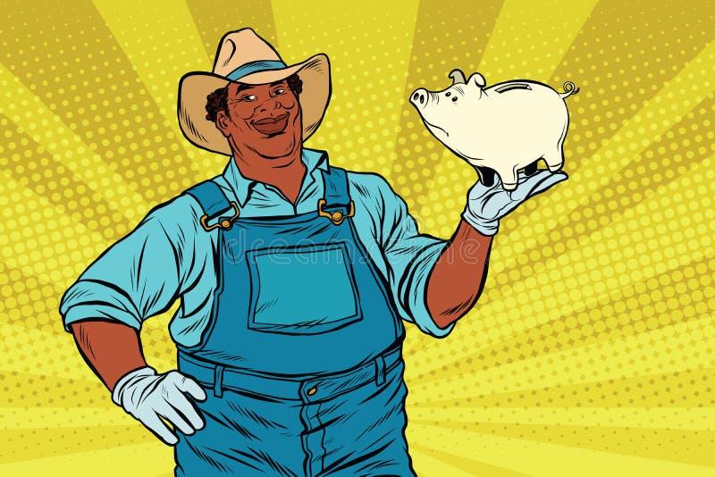 有一家猪贪心银行的非裔美国人的农夫 库存例证