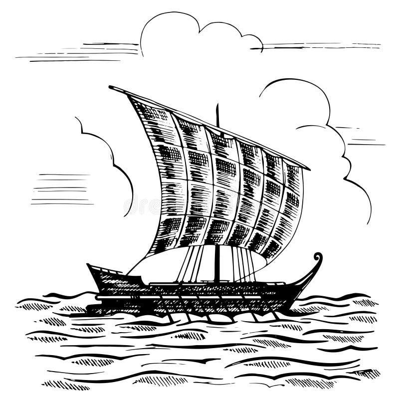 有一帆柱的葡萄酒风船 向量例证