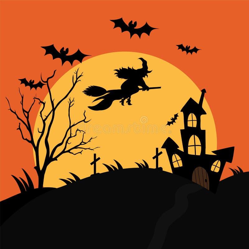 有一座可怕的公墓和一个不祥的房子的一个飞行巫婆 向量例证