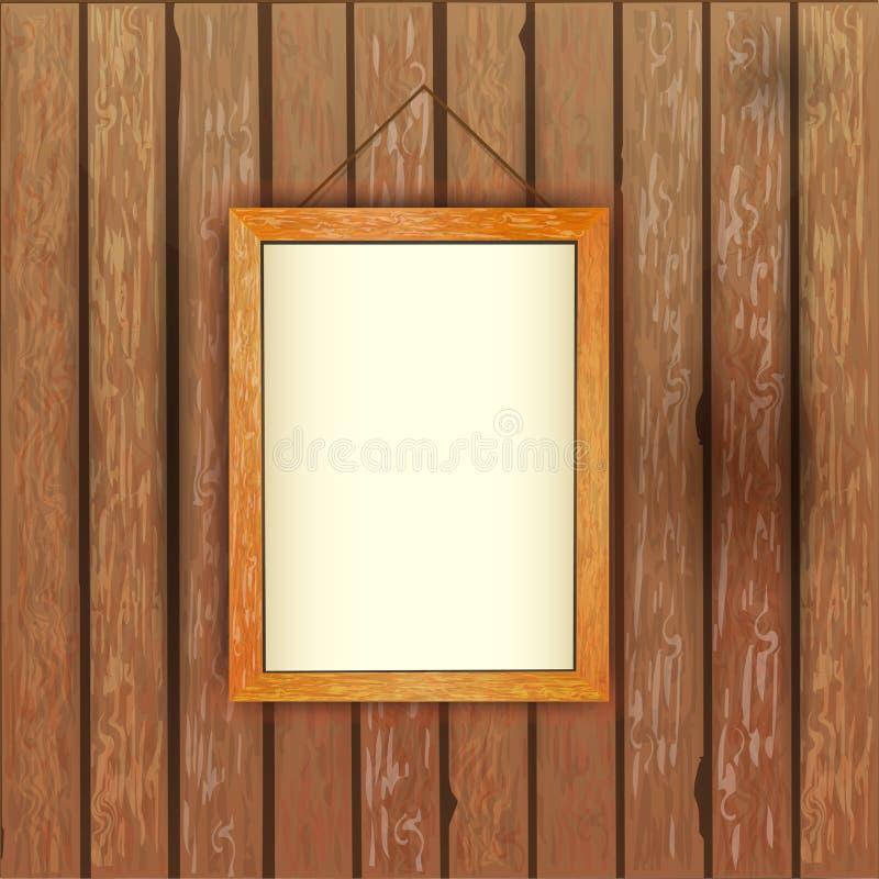 有一张图片的老木墙壁在与一白色backgro的框架 库存例证
