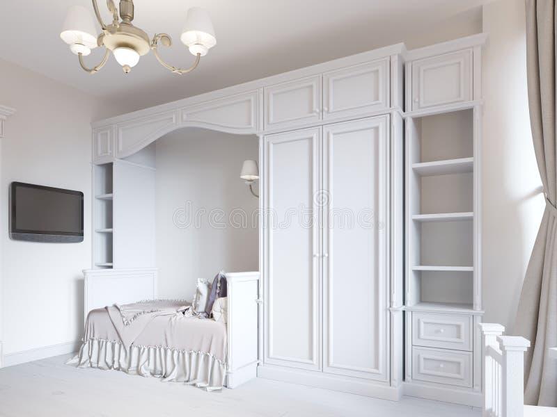 有一张床的儿童的卧室在一个经典样式,与小孩衣服的大衣橱 皇族释放例证