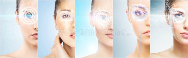 有一张数字式激光全息图的妇女在眼睛拼贴画 眼科学、眼睛手术和身分扫描技术概念 图库摄影