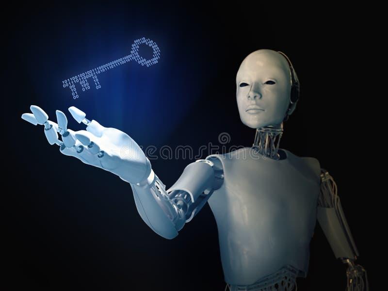 有一把二进制编码钥匙的机器人 皇族释放例证