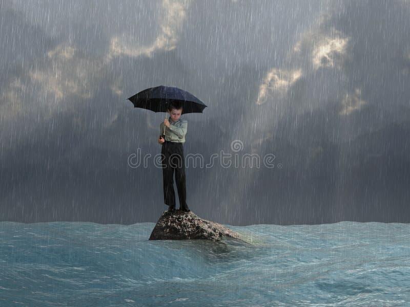 有一把伞的人在洪水 免版税图库摄影