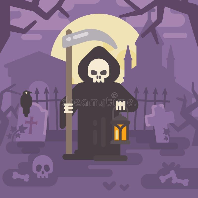有一把大镰刀和一个灯笼的死亡在一座老公墓 皇族释放例证
