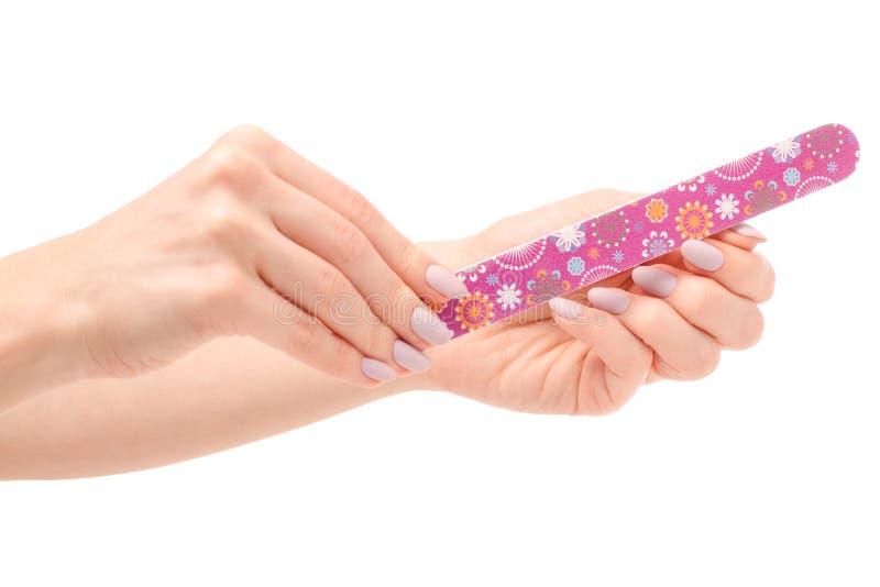 有一把指甲锉的女性手在手上 免版税库存图片