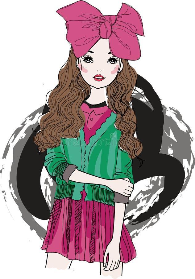 有一把桃红色弓的时尚女孩 向量例证