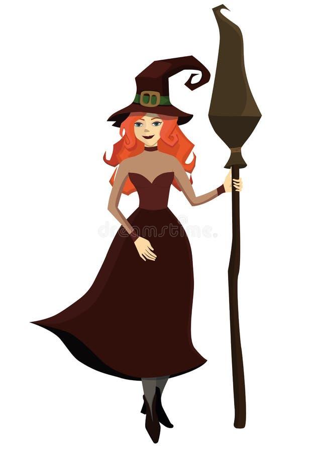 有一把笤帚的红发巫婆在他的手上 E r 皇族释放例证