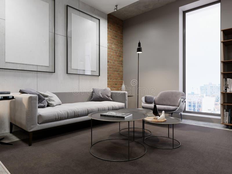 有一把设计师椅子和一盏黑灯的白色沙发,在背景是有一张空的图片的一个混凝土墙 窗口,地毯, 向量例证