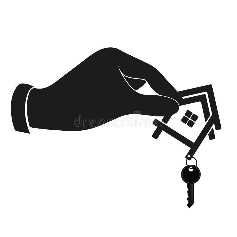 有一把钥匙的议院在手剪影 皇族释放例证