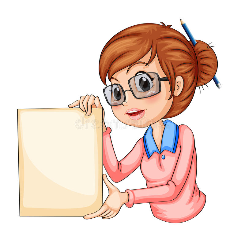 有一支铅笔的一个女孩在她的拿着空的标志的头发 向量例证