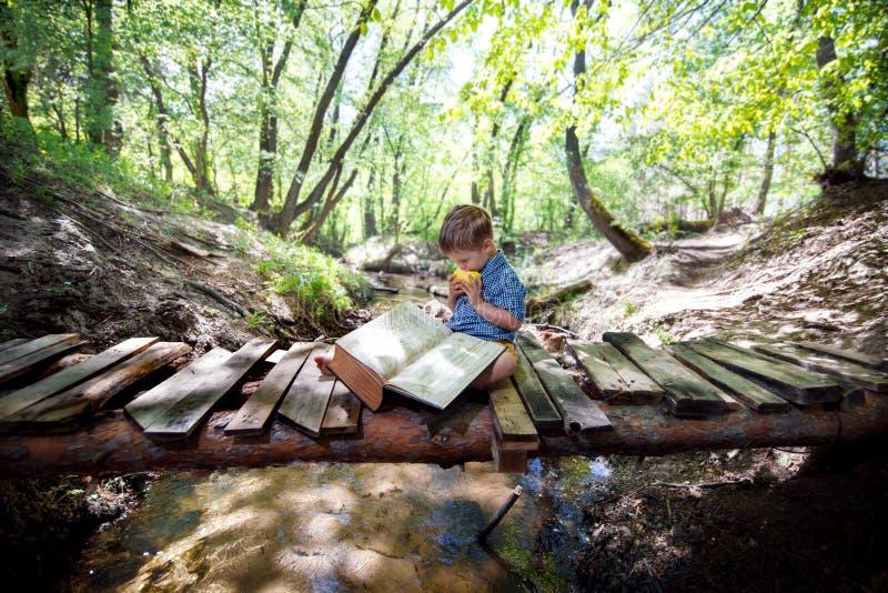 有一本书的男孩在自然 免版税库存图片