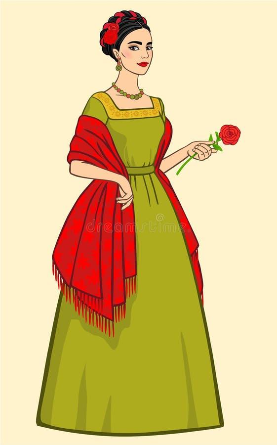 有一朵玫瑰的墨西哥妇女在一件红色披肩的一只手上 库存例证