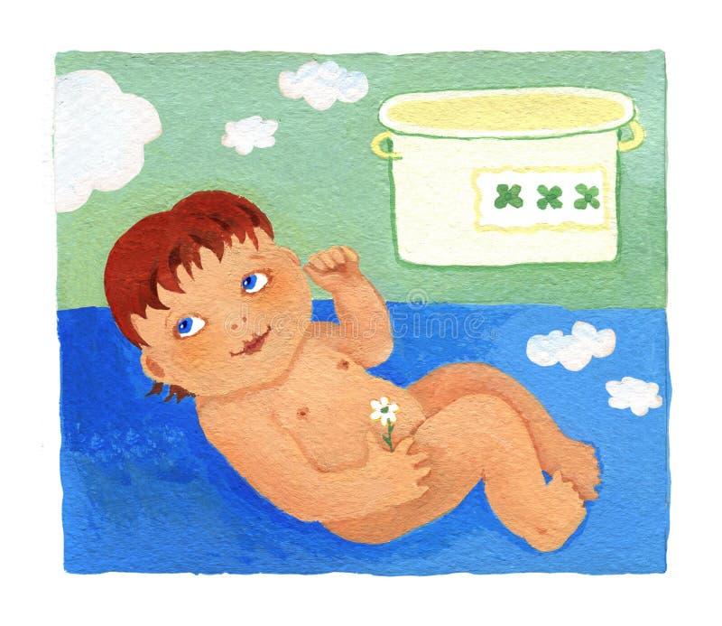 有一朵花的婴儿在她的在蓝色背景的手谎言 关于在绿色背景的一个罐在云彩下 库存例证