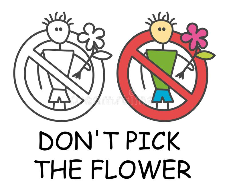 有一朵花的滑稽的传染媒介棍子人对于儿童样式 不要选花或植物棍子人 o 皇族释放例证