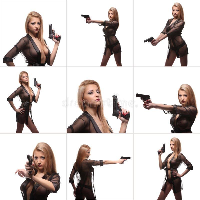 有一杆枪的拼贴画典雅的时髦的女人在手上 免版税库存图片