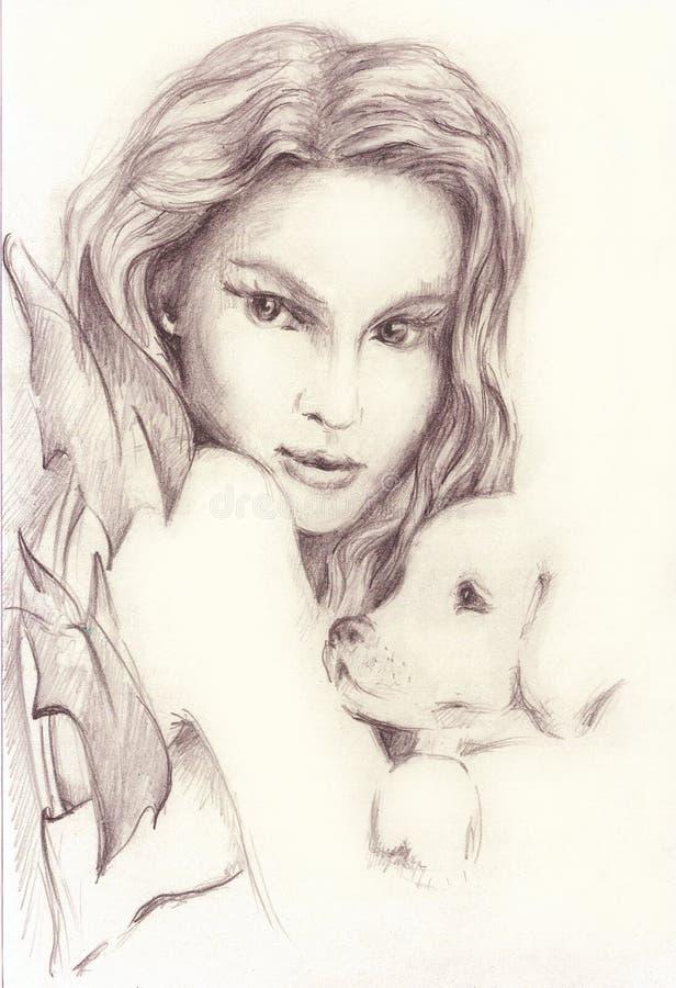有一条小狗的美丽的女孩 背景图画铅笔结构树白色 向量例证