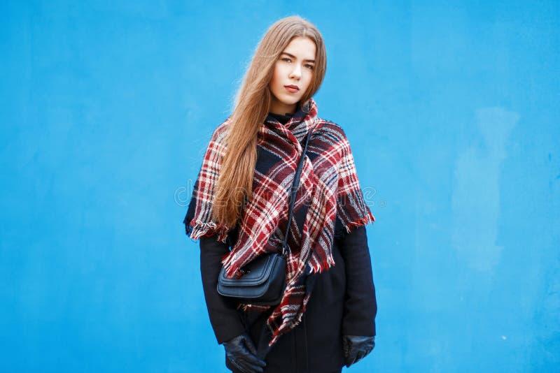 有一条方格的红色围巾的时髦的少妇和冬天涂上 库存图片