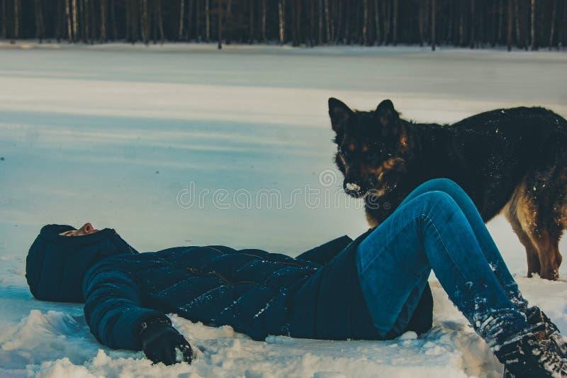 有一条狗的女孩在冬天湖的岸 免版税库存照片