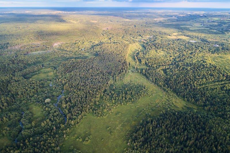 有一条绞的河的森林日落的 与寄生虫的航拍 库存图片