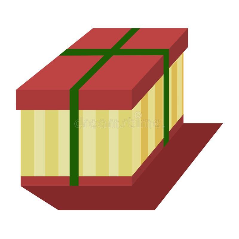 有一条绿色丝带的一个多彩多姿的礼物盒,隔绝在白色背景 礼物假日 也corel凹道例证向量 皇族释放例证