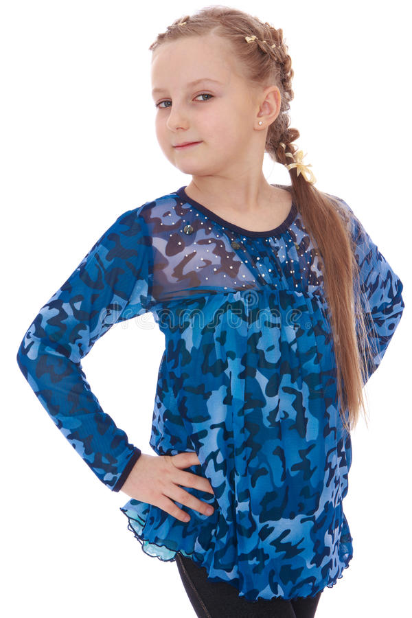 有一条长的辫子的典雅的小女孩 库存图片