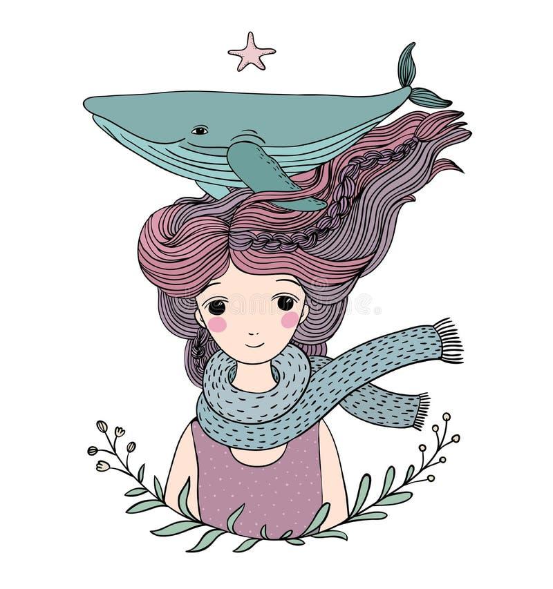 有一条鲸鱼的美丽的女孩水手在她的头发 海洋动物 皇族释放例证